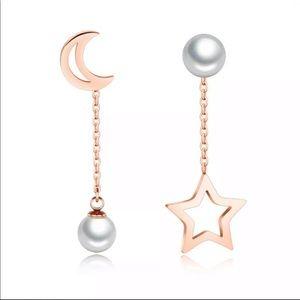 Moon and Star Long Pearl Chain Drop Earrings.
